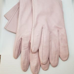 Lord & Taylor Pink Mid-forearm Leather Gloves